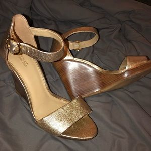Michael Kors Gold Metallic Wedge Sandals